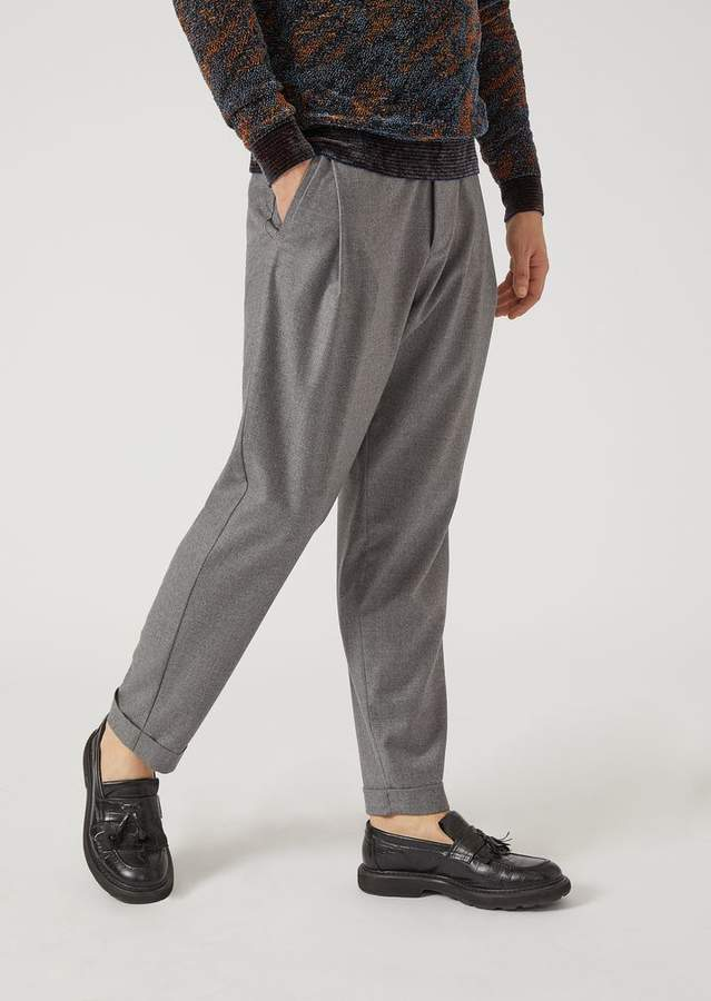 Emporio Armani Virgin Wool Trousers With Darts
