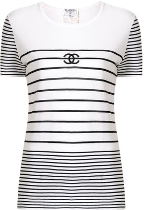 Chanel Pre Owned 1995 striped CC T-shirt