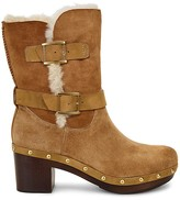 UGG Brea Sheepskin and Leather Belted Mid Calf Boots