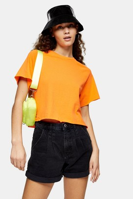 Topshop Womens Orange Raglan Crop T-Shirt - Orange