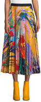 Mary Katrantzou Splatter-Paint Print Pleated Midi Skirt
