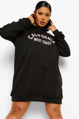 boohoo Plus California Hooded Sweat Dress