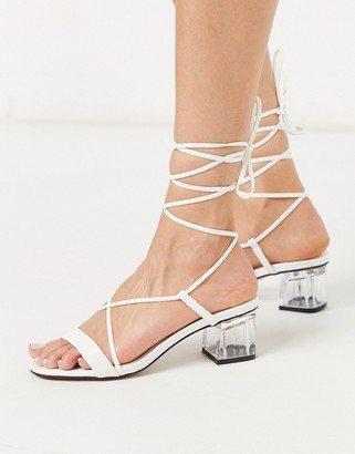 Topshop strappy block heels in white