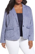 Plus Size Women's Caslon Linen One-Button Blazer