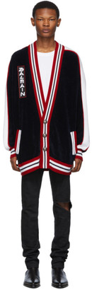 Balmain Navy Striped Long Cardigan