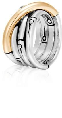 John Hardy Bamboo 18K Yellow Gold & Sterling Silver Band Ring