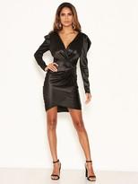AX Paris Ruched Bodycon Wrap Dress - Black