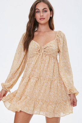 Forever 21 Floral Chiffon Peasant Sleeve Dress