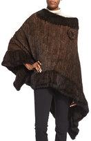 La Fiorentina Asymmetric Fur Poncho w/Rosette, Brown