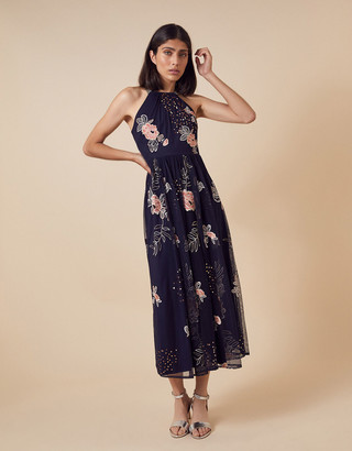 Under Armour Ellen Floral Embroidery Midi Dress in Recycled Fabric Blue
