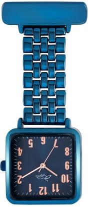 Bermuda Watch Company Annie Apple Square Rose Gold/Blue Link Bracelet Nurse Fob Watch