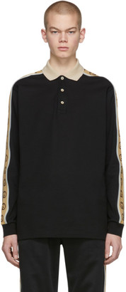 Gucci Black Cotton Pique Long Sleeve Polo