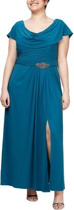 Alex Evenings Cowl Neck Beaded Waist Gown
