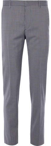Prada Slim-Fit Gingham Stretch-Wool Trousers