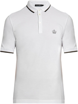 Dolce & Gabbana Crown-embroidered cotton-piqué polo shirt