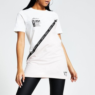 River Island White 'ATLR' tape blocked boyfriend T-shirt