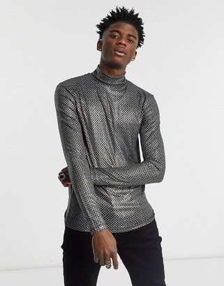 ASOS DESIGN muscle long sleeve T-shirt with roll neck in silver fabric