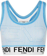 Fendi Striped Stretch Sports Bra - Blue