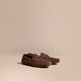Burberry Suede Loafers With Engraved Check Detail , Size: 39.5, Brown