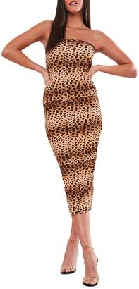 Missguided Cheetah-Print Bandeau Midi Bodycon Dress