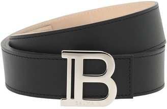 Balmain 3.5cm Monogram Leather Belt