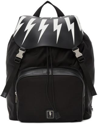 Neil Barrett Black Pocket Fair-Isle Backpack