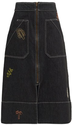 Ssone X Ressone - Oak Hand-embroidered Denim Skirt - Black