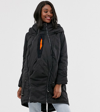 Mama Licious Mamalicious maternity 3 in 1 post functionality padded coat in black
