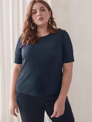 Crew-Neck Plisse T-Shirt - Addition Elle
