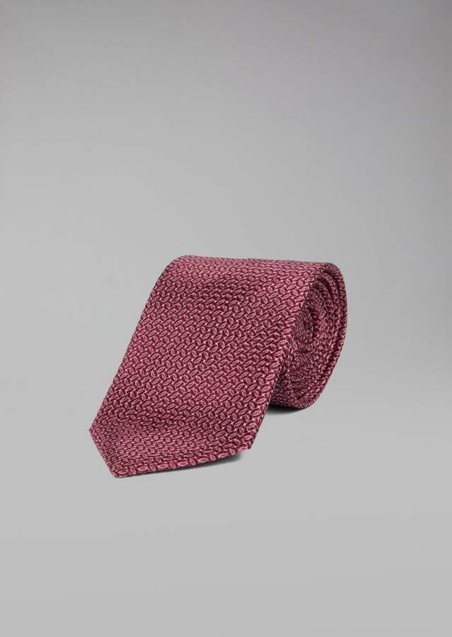 Giorgio Armani Silk Tie With Optical Pattern