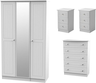 Dakota Part Assembled 4 Piece Package - 3 Door MirroedWardrobe, 5 Drawer Chest and 2 Bedside Chests