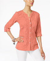 JM Collection Cotton Striped Roll-Tab Shirt, Created for Macy's