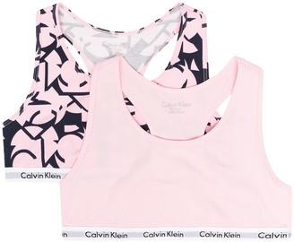 Calvin Klein Kids Three-Pack Logo-Tape Bra