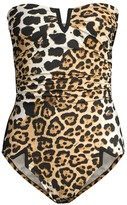 Shan Kawa Ruched Leopard One-Piece Swimsuit