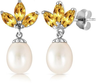 Overstock 9.5 CTW 14K Solid White Gold Dangling Earrings pearl Citrine