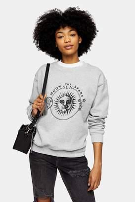 Topshop Womens Charcoal Grey Moon And Stars Sweatshirt - Charcoal