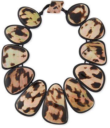 Viktoria Hayman Resin Statement Collar Necklace, Leopard