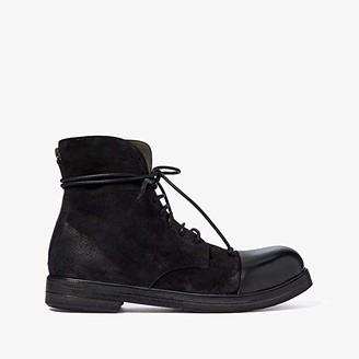 Marsèll Suede and Leather Cap Toe Boot (Black) Men's Shoes