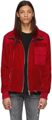 Amiri Red Velvet Commando Patch Jacket