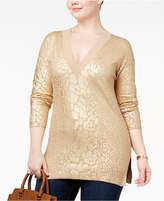 MICHAEL Michael Kors Size Foil-Print Tunic Sweater