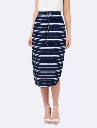Forever New Stacey stripe midi - Navy/White Stripe - 14