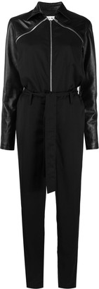 Almaz Detachable-Sleeve Leather Jumpsuit