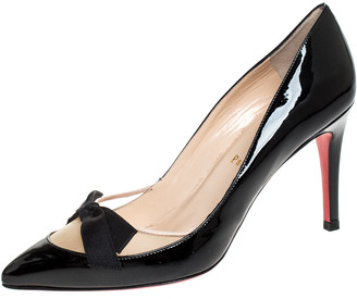 Christian Louboutin Black Patent Leather and Mesh Bow Pointed Toe Pumps Size 36.5