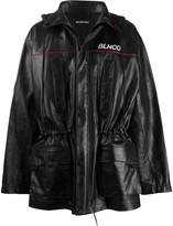 Balenciaga BLNCG leather parka