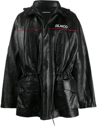 Balenciaga BLNCG leather parka