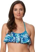 Women's Pink Envelope Bust Enhancer Flounce Bikini Top