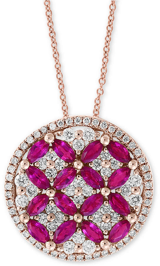 "Effy Amore by Certified Ruby (1-1/2 ct. t.w.) & Diamond (7/8 ct. t.w.) 18"" Pendant Necklace in 14k Rose Gold"