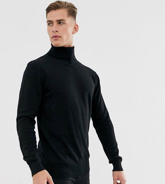 French Connection Tall 100% cotton roll neck sweater-Black