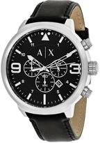 Giorgio Armani Exchange ATLC AX1371 Men's Black Leather and Stainless Steel Chronograph Watch