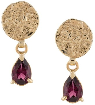 NATASHA SCHWEITZER 9kt Yellow Gold Coin Garnet Earrings